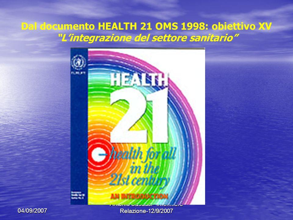 04/09/2007 Antonio Casadei - Infermiere Relazione-12/9/2007 Dal documento HEALTH 21 OMS 1998: obiettivo XV Lintegrazione del settore sanitario In molti stati membri è necessaria una maggiore integrazione del settore sanitario con unattenzione particolare allassistenza sanitaria di base.