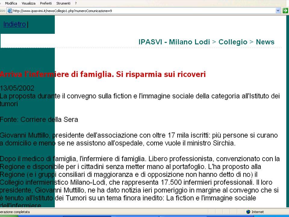 04/09/2007 Antonio Casadei - Infermiere Relazione-12/9/2007 Maggior concentrazione utilizzo figura infermiere