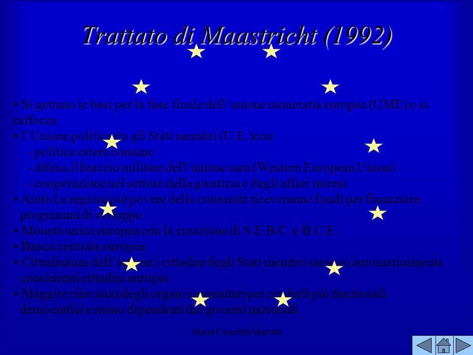 Maria Concetta Marotta Si gettano le basi per la fase finale dellunione monetaria europea (UME) e si rafforza : lUnione politica tra gli Stati membri