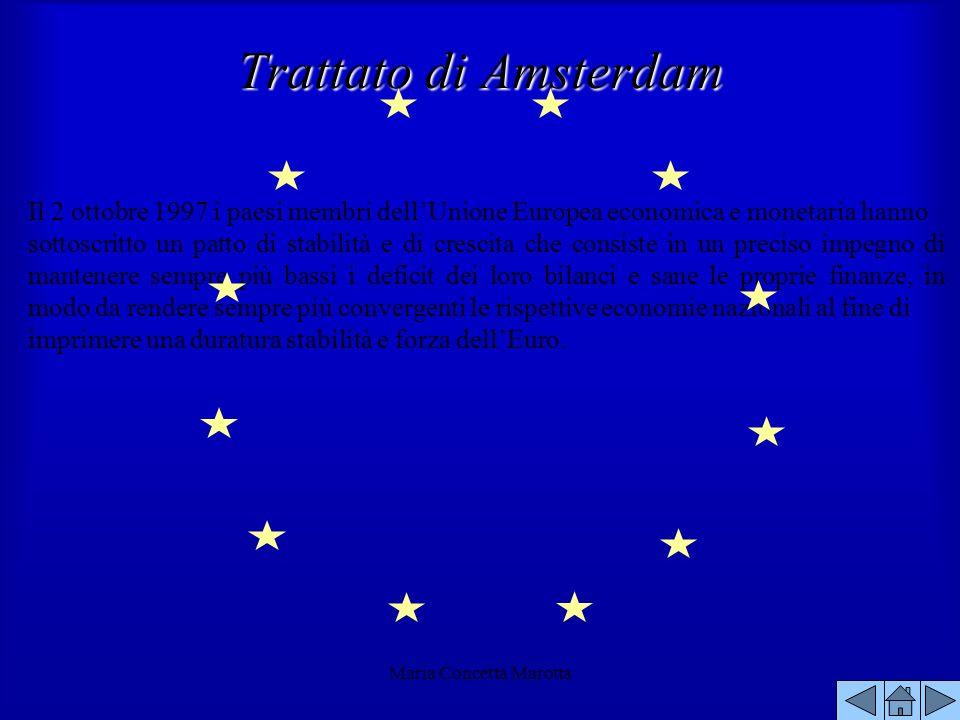 Maria Concetta Marotta Il 2 ottobre 1997 i paesi membri dellUnione Europea economica e monetaria hanno sottoscritto un patto di stabilità e di crescit