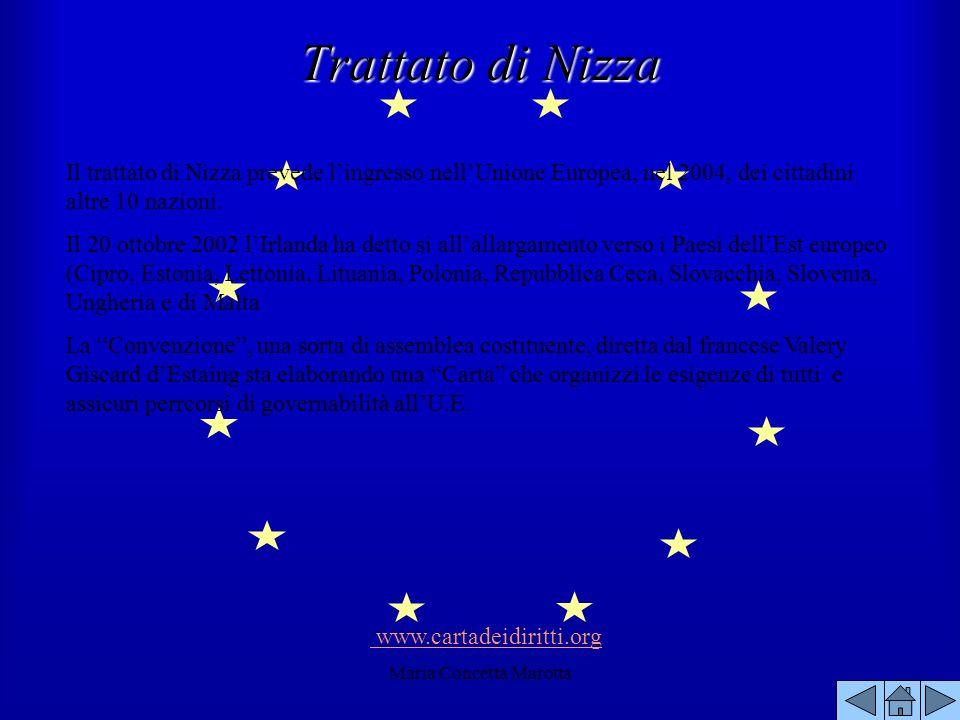 Maria Concetta Marotta Trattato di Nizza Il trattato di Nizza prevede lingresso nellUnione Europea, nel 2004, dei cittadini altre 10 nazioni. Il 20 ot