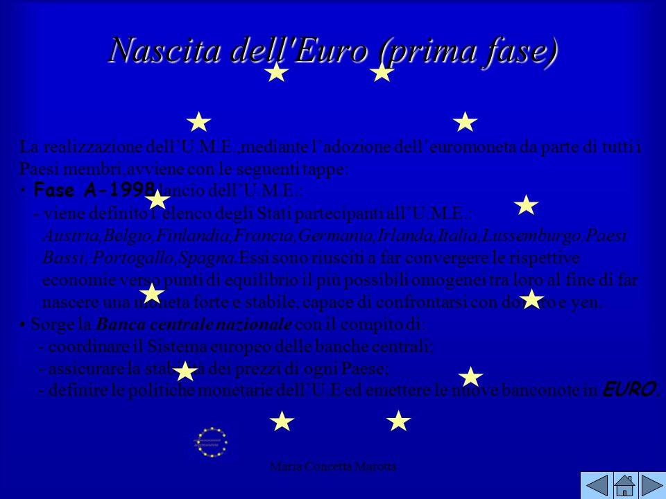 Maria Concetta Marotta La realizzazione dellU.M.E.,mediante ladozione delleuromoneta da parte di tutti i Paesi membri,avviene con le seguenti tappe: F