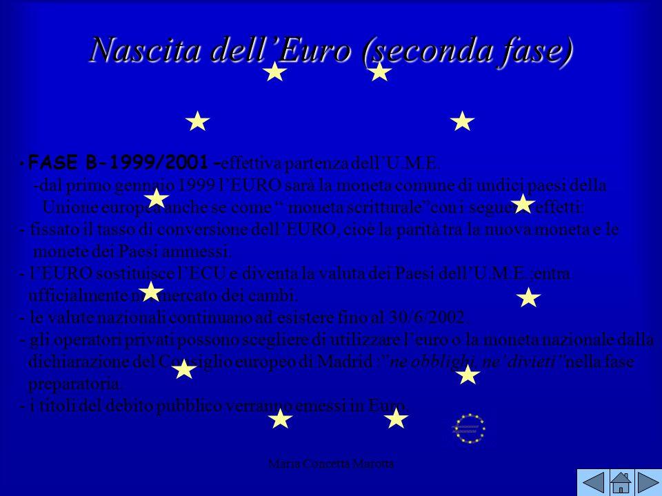 Maria Concetta Marotta FASE B-1999/2001- effettiva partenza dellU.M.E. -dal primo gennaio 1999 lEURO sarà la moneta comune di undici paesi della Union