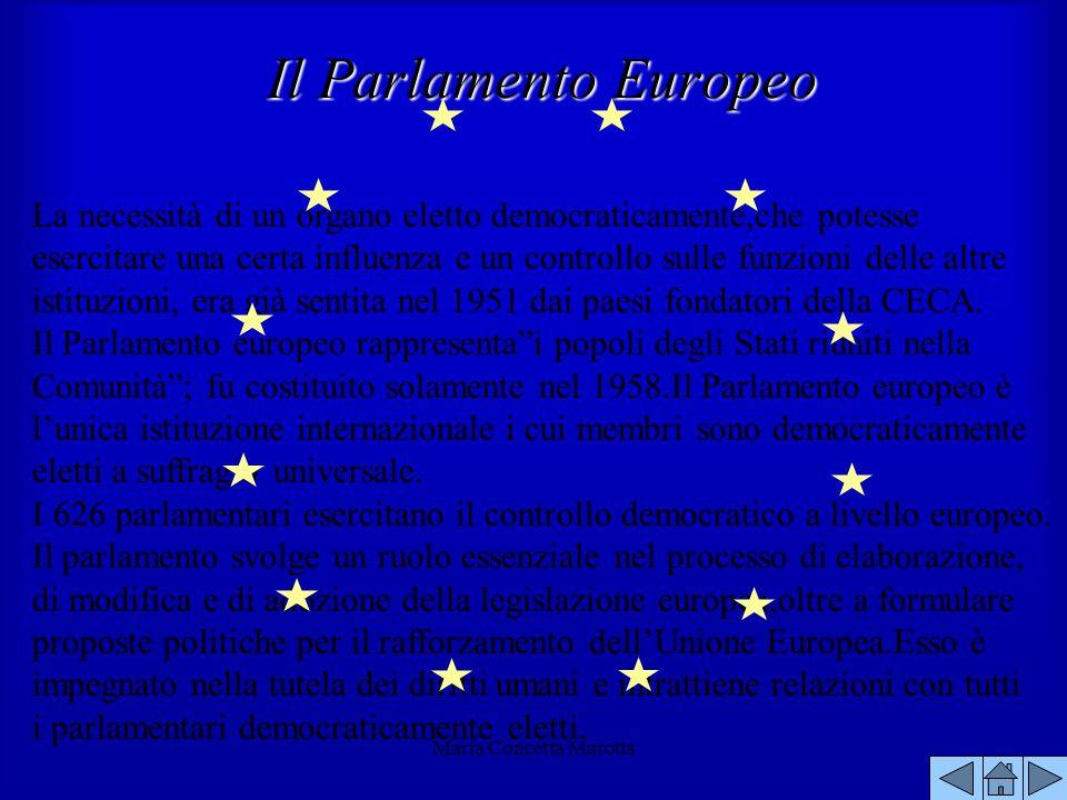 Maria Concetta Marotta La necessità di un organo eletto democraticamente,che potesse esercitare una certa influenza e un controllo sulle funzioni dell