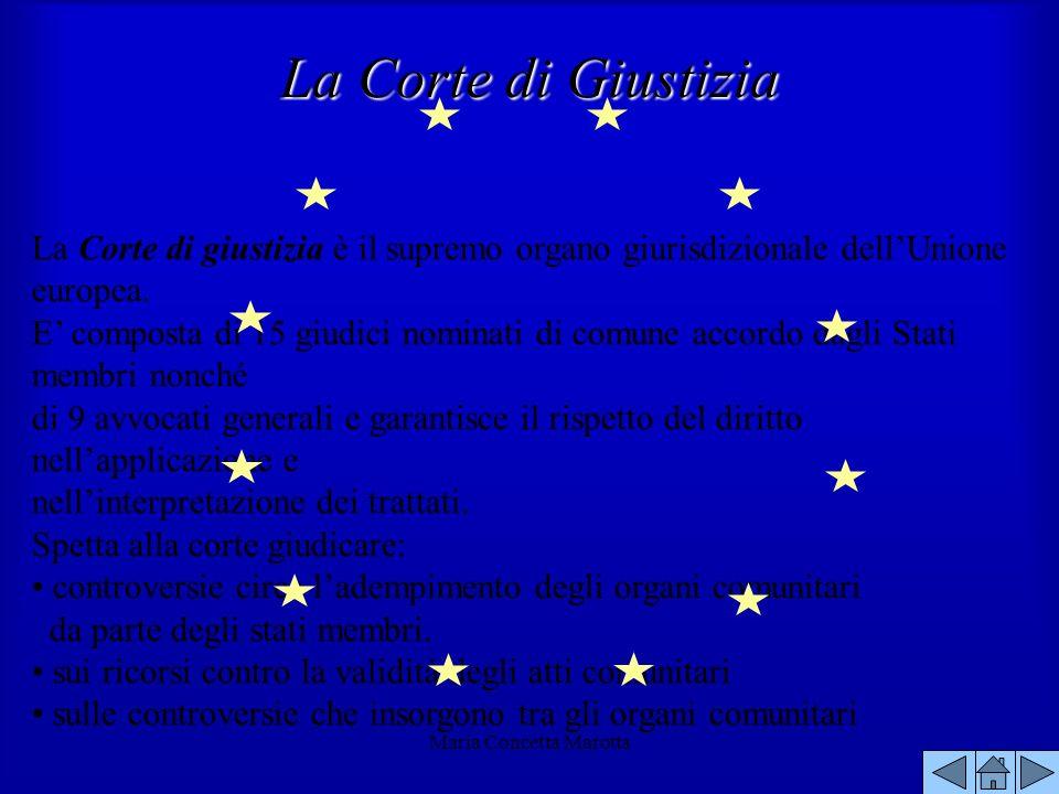 Maria Concetta Marotta La Corte di giustizia è il supremo organo giurisdizionale dellUnione europea. E composta di 15 giudici nominati di comune accor