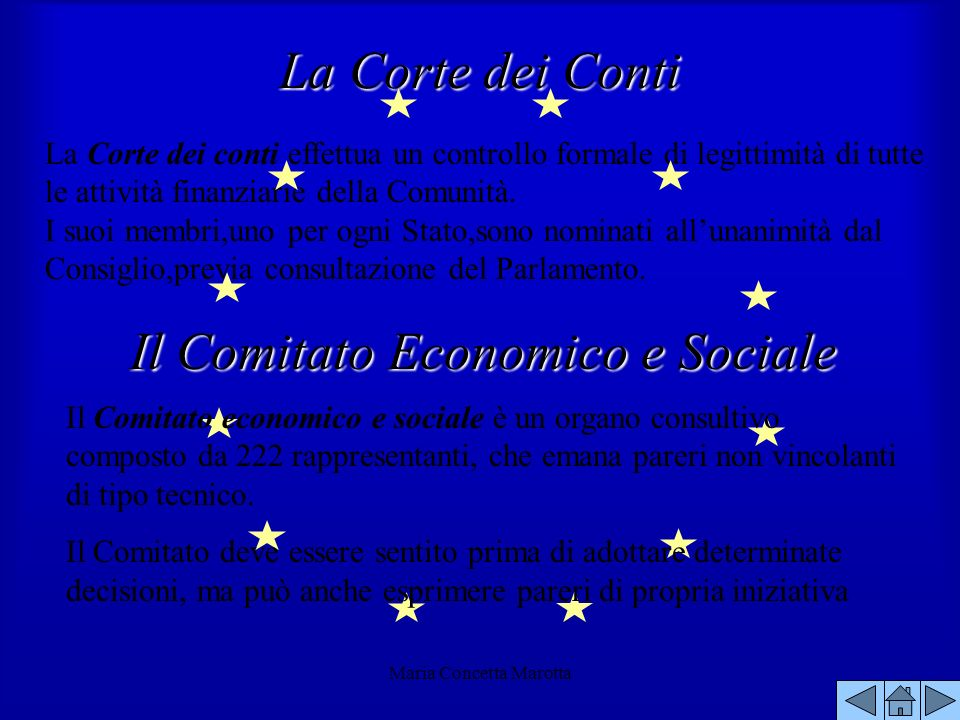 Maria Concetta Marotta La Corte dei conti effettua un controllo formale di legittimità di tutte le attività finanziarie della Comunità. I suoi membri,