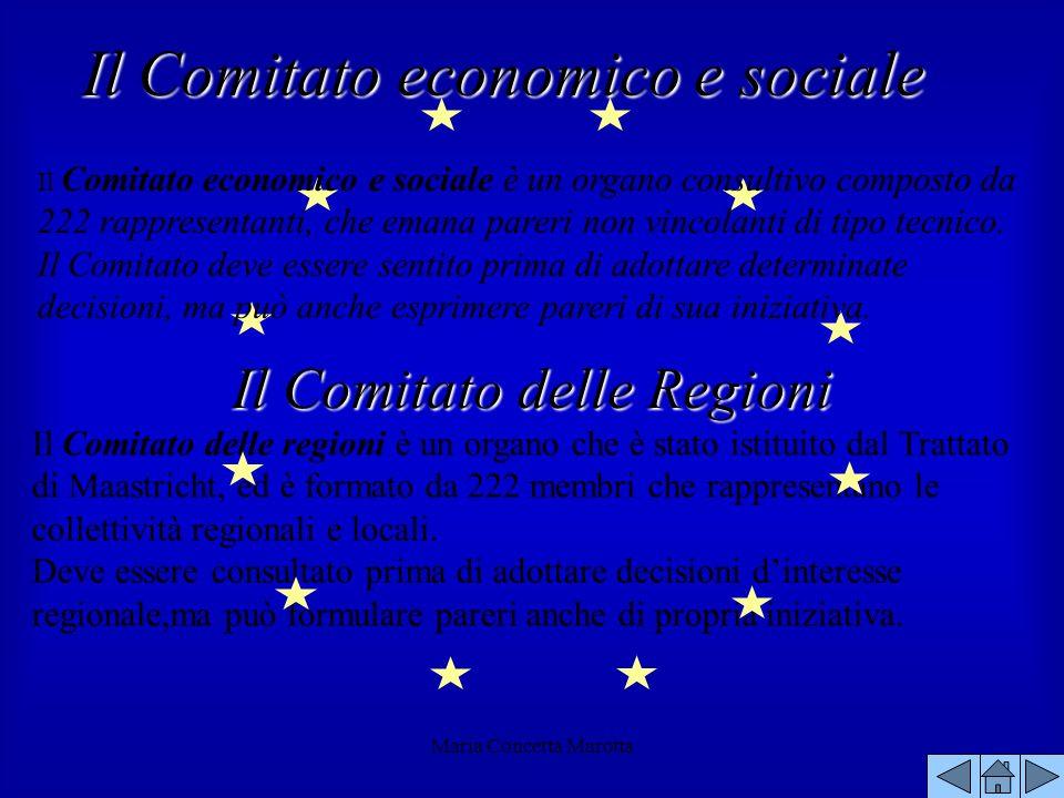 Maria Concetta Marotta Il Comitato delle regioni è un organo che è stato istituito dal Trattato di Maastricht, ed è formato da 222 membri che rapprese