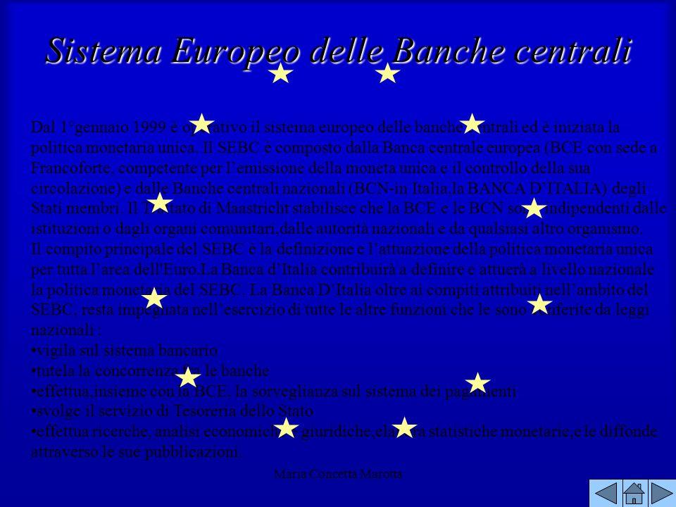 Maria Concetta Marotta Dal 1°gennaio 1999 è operativo il sistema europeo delle banche centrali ed è iniziata la politica monetaria unica. Il SEBC è co