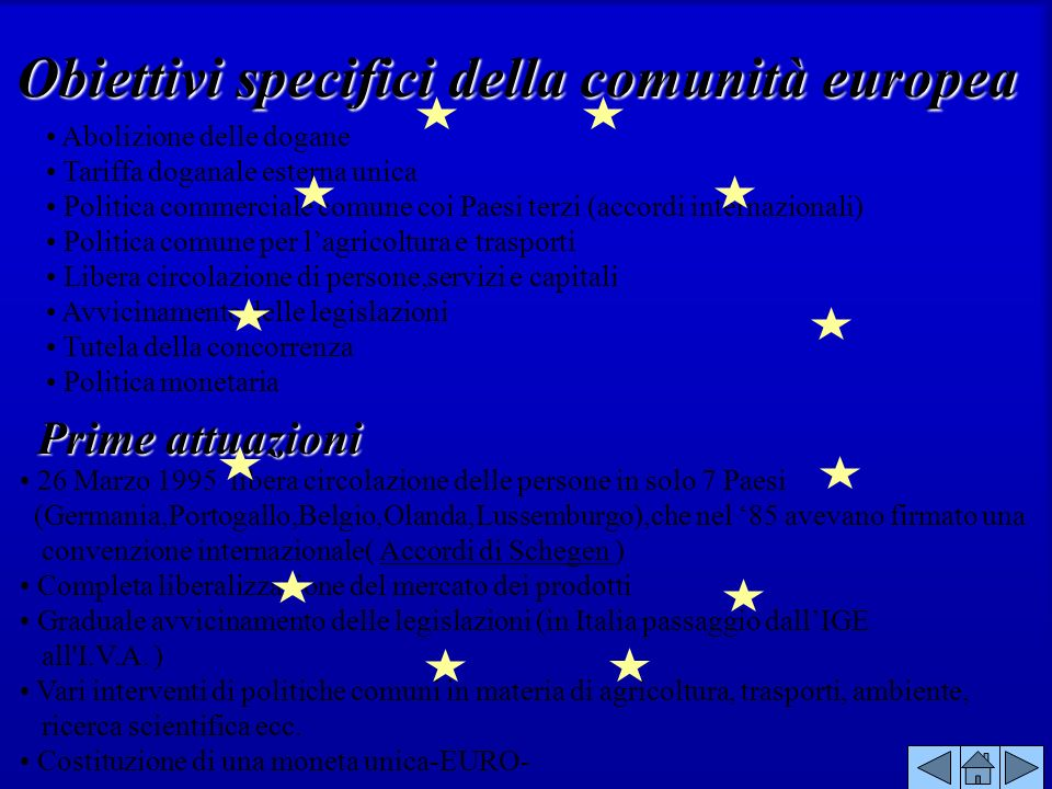 Abolizione delle dogane Tariffa doganale esterna unica Politica commerciale comune coi Paesi terzi (accordi internazionali) Politica comune per lagric
