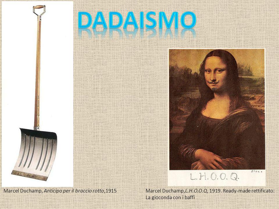 Marcel Duchamp, Anticipo per il braccio rotto,1915Marcel Duchamp,L.H.O.O.Q, 1919.