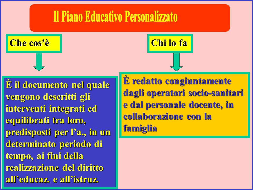 Su un modello la cui forma può essere liberamente scelta dagli operatori scolastici e socio-sanitari È impostato allinizio della scolarizzazione; alla fine della 2^ elem., della 2^ media viene tracciato un bilancio diagnostico e prognostico.