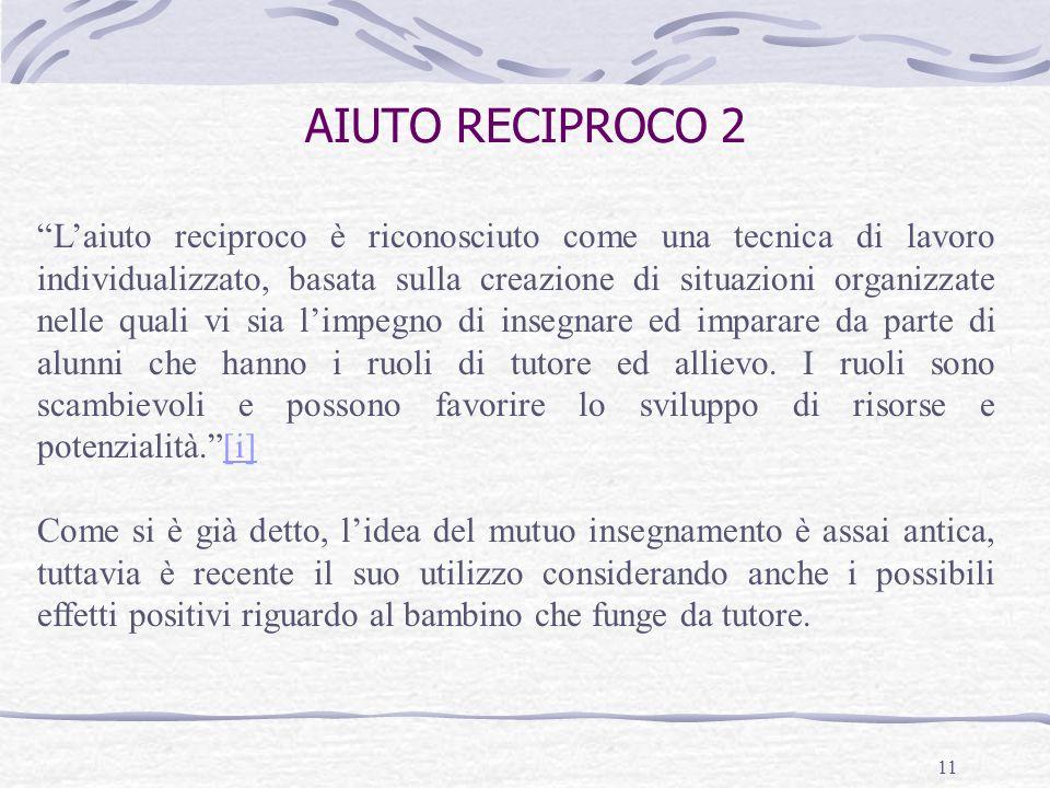 11 AIUTO RECIPROCO 2 Laiuto reciproco è riconosciuto come una tecnica di lavoro individualizzato, basata sulla creazione di situazioni organizzate nel