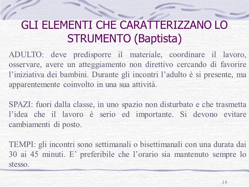 14 GLI ELEMENTI CHE CARATTERIZZANO LO STRUMENTO (Baptista) ADULTO: deve predisporre il materiale, coordinare il lavoro, osservare, avere un atteggiame