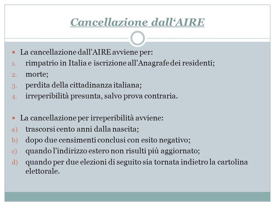 Cancellazione dallAIRE La cancellazione dall'AIRE avviene per: 1. rimpatrio in Italia e iscrizione all'Anagrafe dei residenti; 2. morte; 3. perdita de