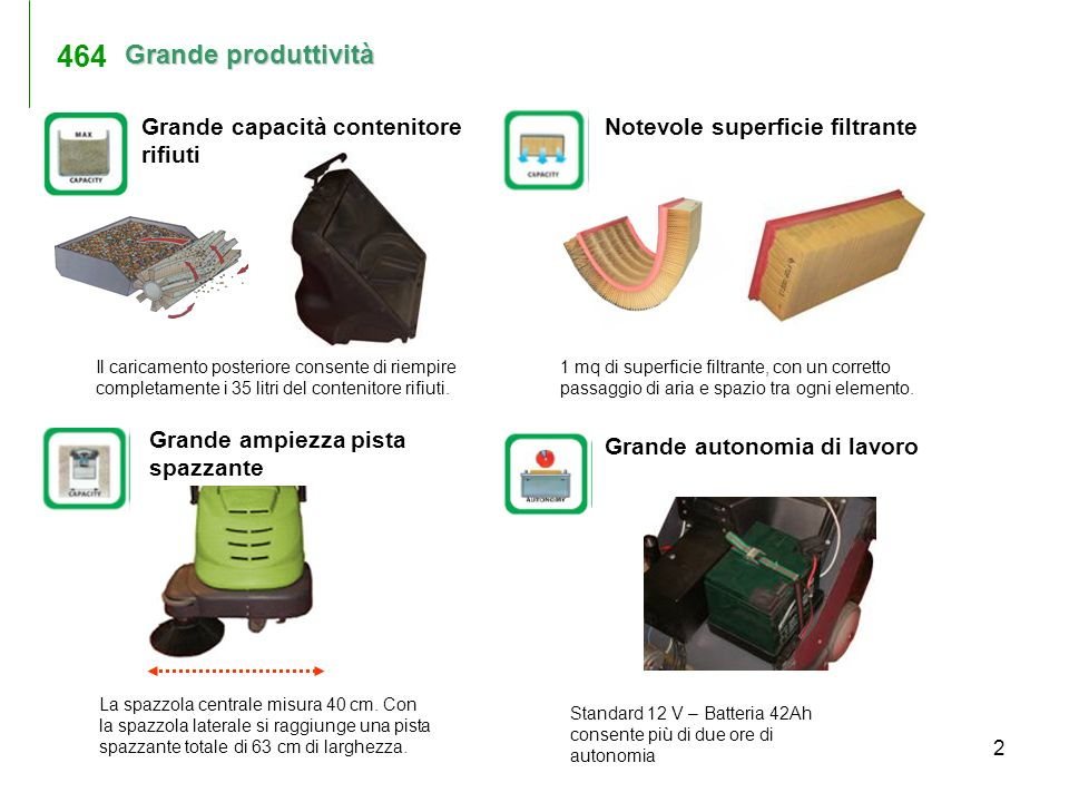 2 Grande produttività Standard 12 V – Batteria 42Ah consente più di due ore di autonomia Grande capacità contenitore rifiuti Notevole superficie filtr