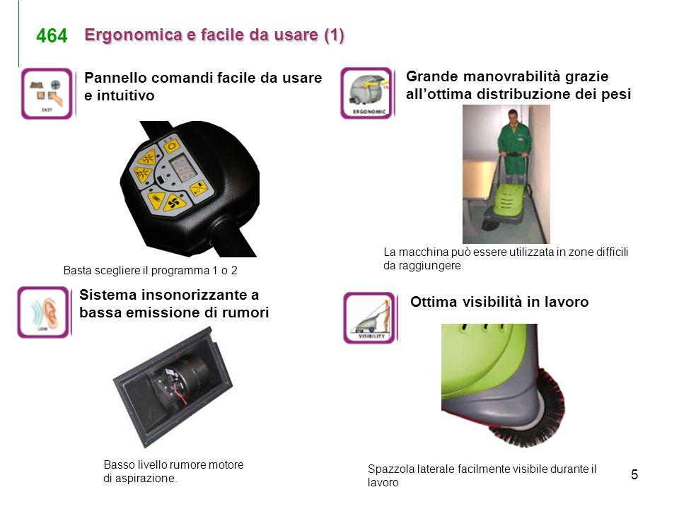 5 Ergonomica e facile da usare (1) Basta scegliere il programma 1 o 2 Battery Spazzola laterale facilmente visibile durante il lavoro La macchina può