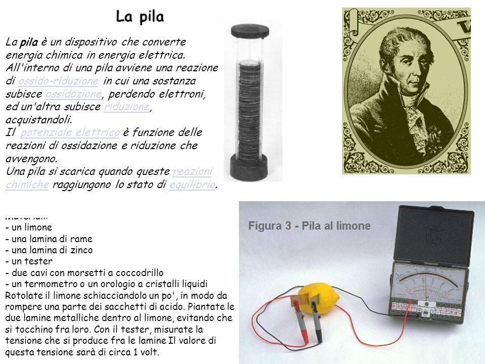 Materiali: - un limone - una lamina di rame - una lamina di zinco - un tester - due cavi con morsetti a coccodrillo - un termometro o un orologio a cr
