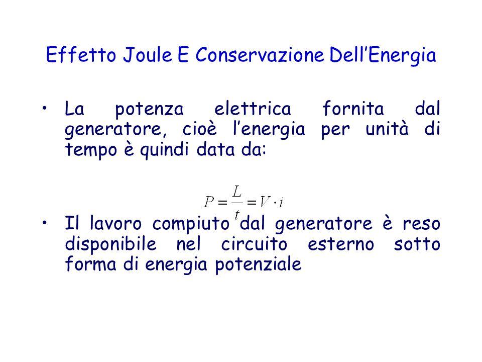 Effetto Joule E Conservazione DellEnergia La potenza elettrica fornita dal generatore, cioè lenergia per unità di tempo è quindi data da: Il lavoro co