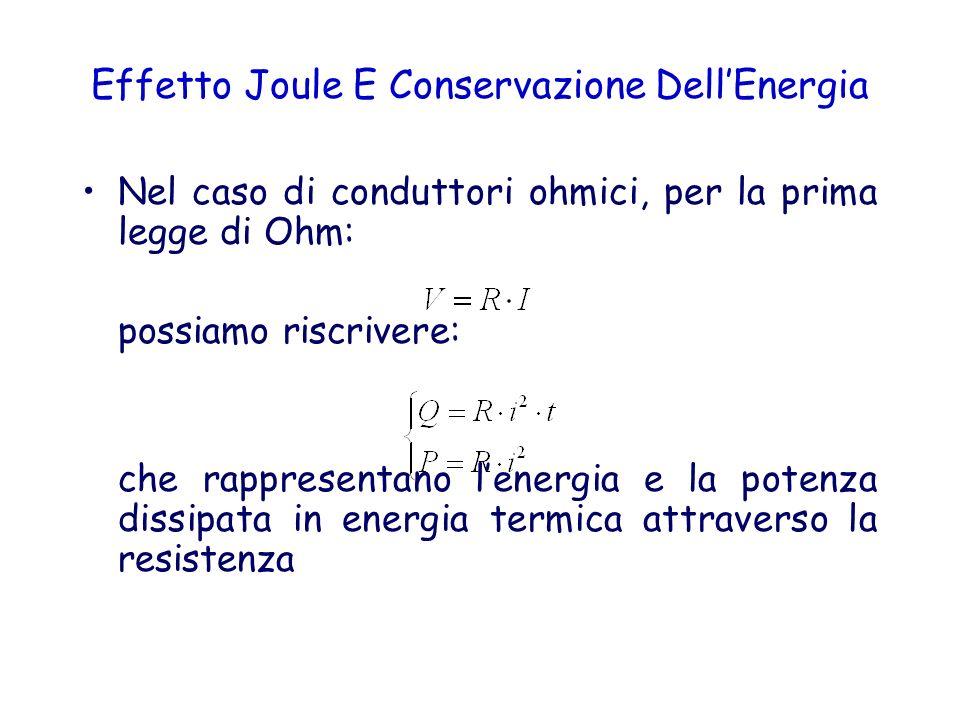 Effetto Joule E Conservazione DellEnergia Nel caso di conduttori ohmici, per la prima legge di Ohm: possiamo riscrivere: che rappresentano lenergia e