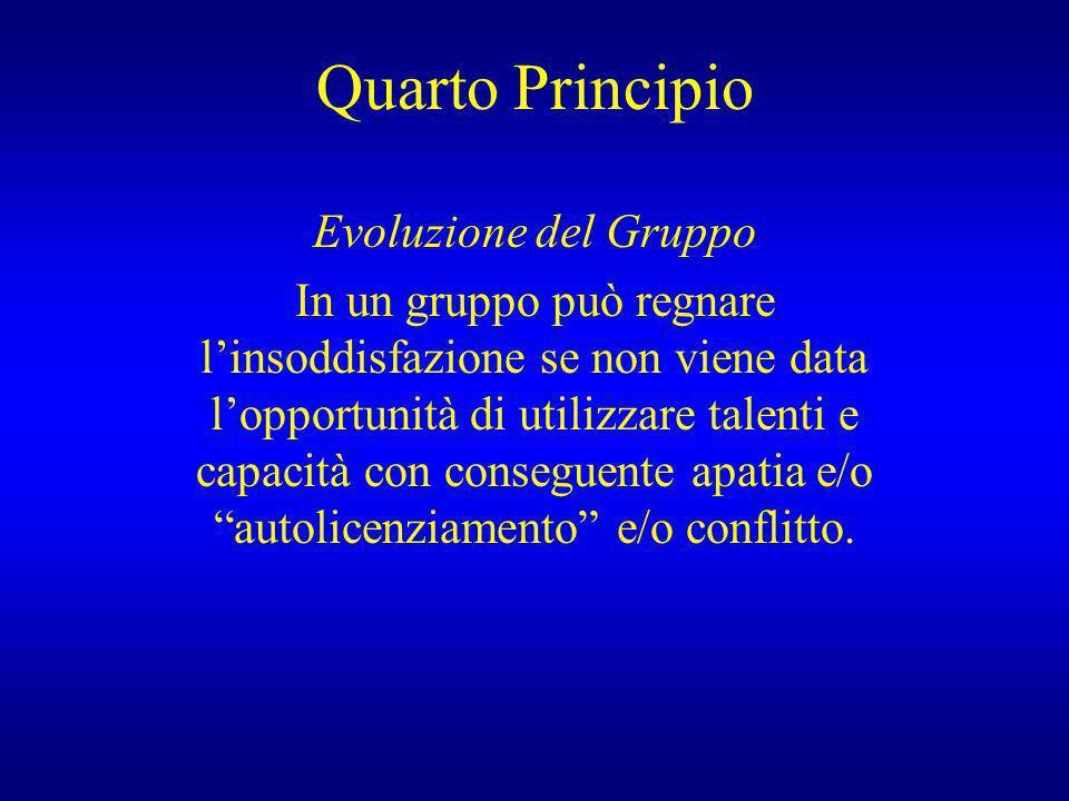 Quarto Principio Evoluzione del Gruppo In un gruppo può regnare linsoddisfazione se non viene data lopportunità di utilizzare talenti e capacità con c