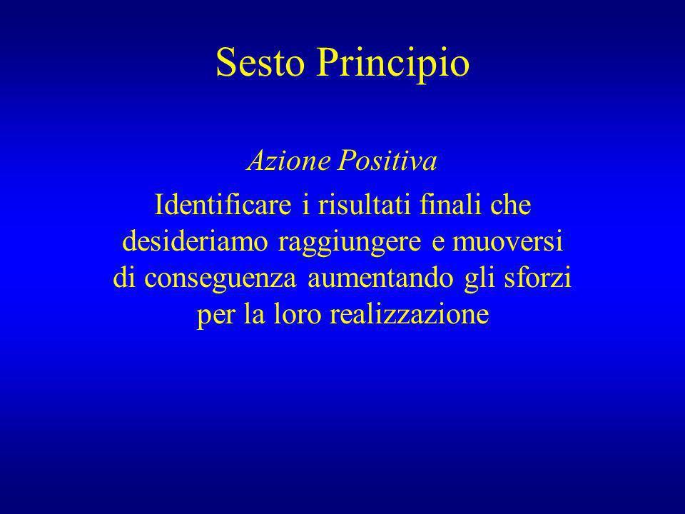 Sesto Principio Azione Positiva Identificare i risultati finali che desideriamo raggiungere e muoversi di conseguenza aumentando gli sforzi per la lor