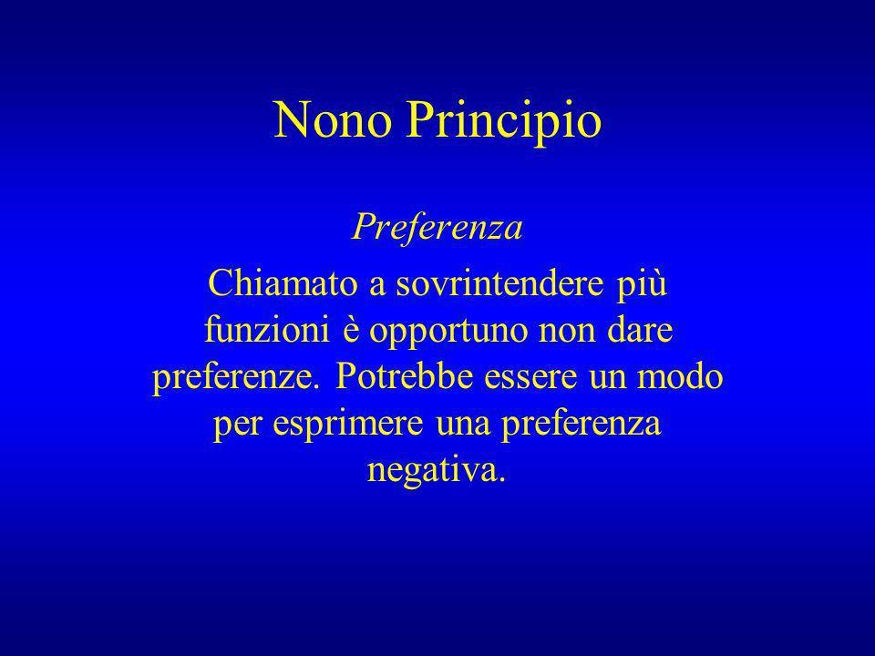 Nono Principio Preferenza Chiamato a sovrintendere più funzioni è opportuno non dare preferenze. Potrebbe essere un modo per esprimere una preferenza