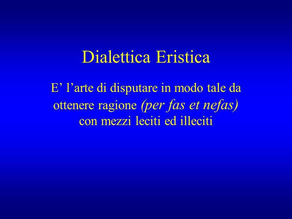 Dialettica Eristica E larte di disputare in modo tale da ottenere ragione (per fas et nefas) con mezzi leciti ed illeciti