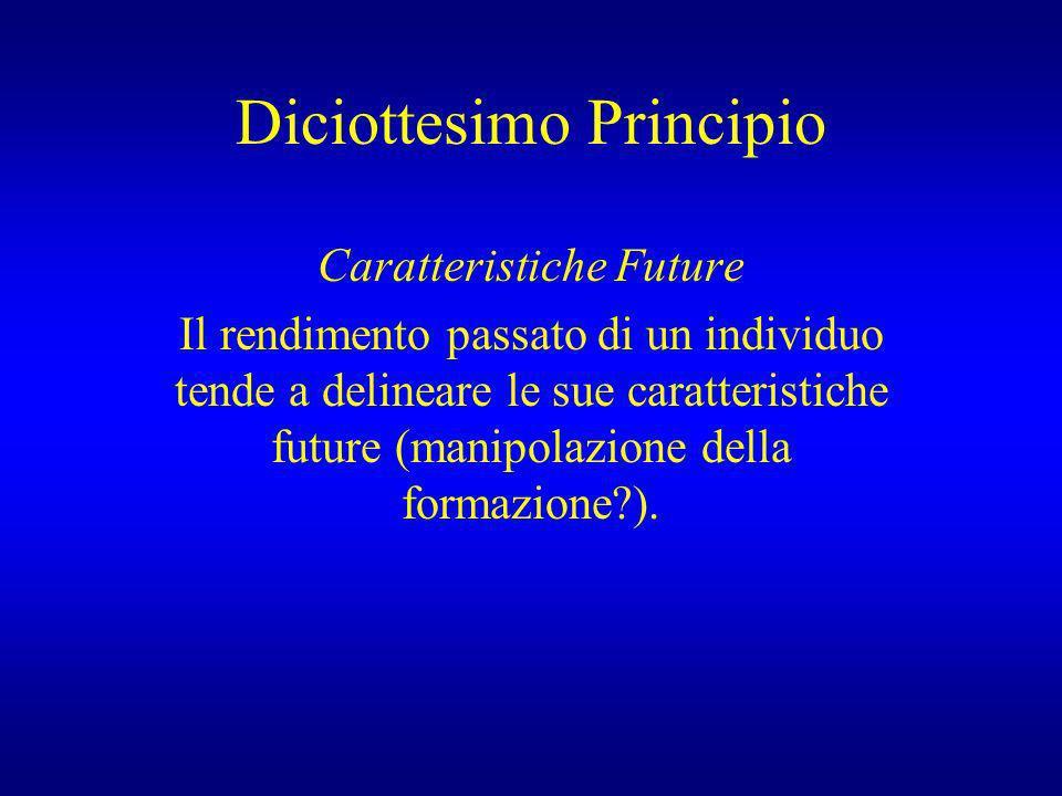 Diciottesimo Principio Caratteristiche Future Il rendimento passato di un individuo tende a delineare le sue caratteristiche future (manipolazione del