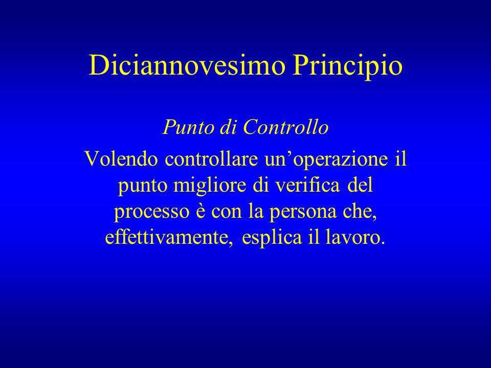 Diciannovesimo Principio Punto di Controllo Volendo controllare unoperazione il punto migliore di verifica del processo è con la persona che, effettiv