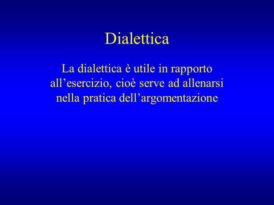 Dialettica La dialettica è utile in rapporto allesercizio, cioè serve ad allenarsi nella pratica dellargomentazione