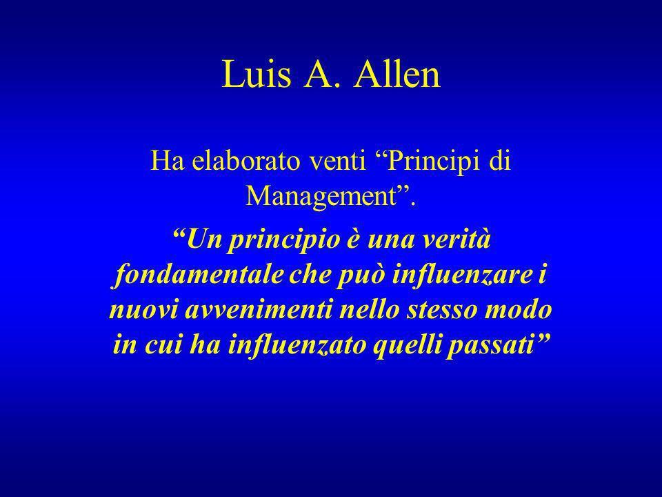 Luis A. Allen Ha elaborato venti Principi di Management. Un principio è una verità fondamentale che può influenzare i nuovi avvenimenti nello stesso m
