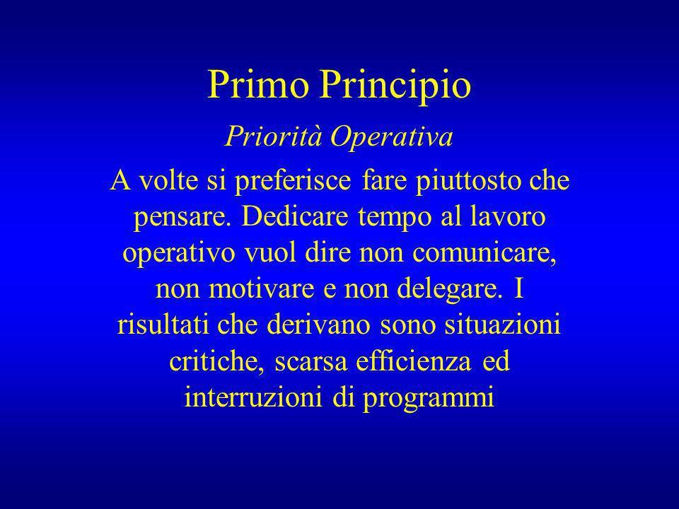 Primo Principio Priorità Operativa A volte si preferisce fare piuttosto che pensare. Dedicare tempo al lavoro operativo vuol dire non comunicare, non