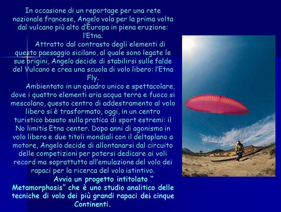 2 La prima tappa del progetto Metamorphosis, ciò che DArrigo chiama la riscoperta dellistinto del volo, abbandonato il volo matematico volto al traguardo, ha visto la traversata del Sahara, dalle dune di Chott el-Djerid alla Sicilia, con i falchi migratori, nel 2001.
