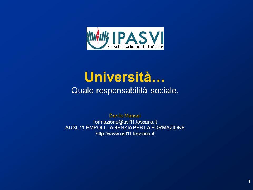 1 Università… Quale responsabilità sociale. Danilo Massai formazione@usl11.toscana.it AUSL 11 EMPOLI - AGENZIA PER LA FORMAZIONE http://www.usl11.tosc