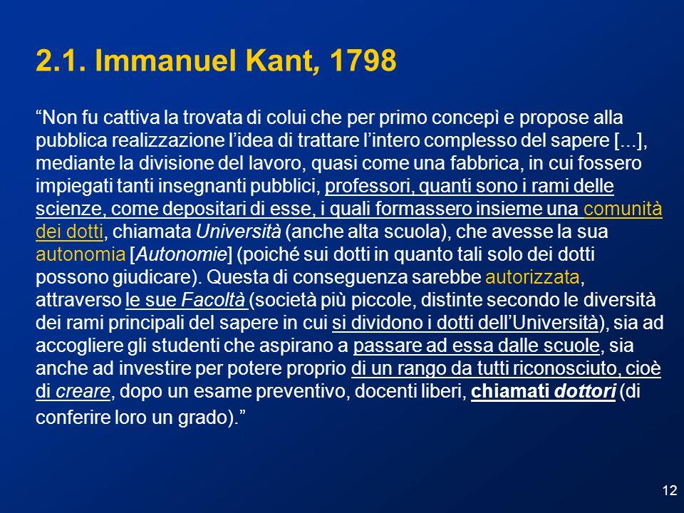 12 2.1. Immanuel Kant, 1798 Non fu cattiva la trovata di colui che per primo concepì e propose alla pubblica realizzazione lidea di trattare lintero c