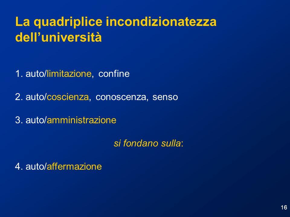 16 La quadriplice incondizionatezza delluniversità 1. auto/limitazione, confine 2. auto/coscienza, conoscenza, senso 3. auto/amministrazione si fondan