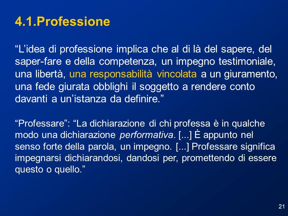 21 4.1.Professione Lidea di professione implica che al di là del sapere, del saper-fare e della competenza, un impegno testimoniale, una libertà, una