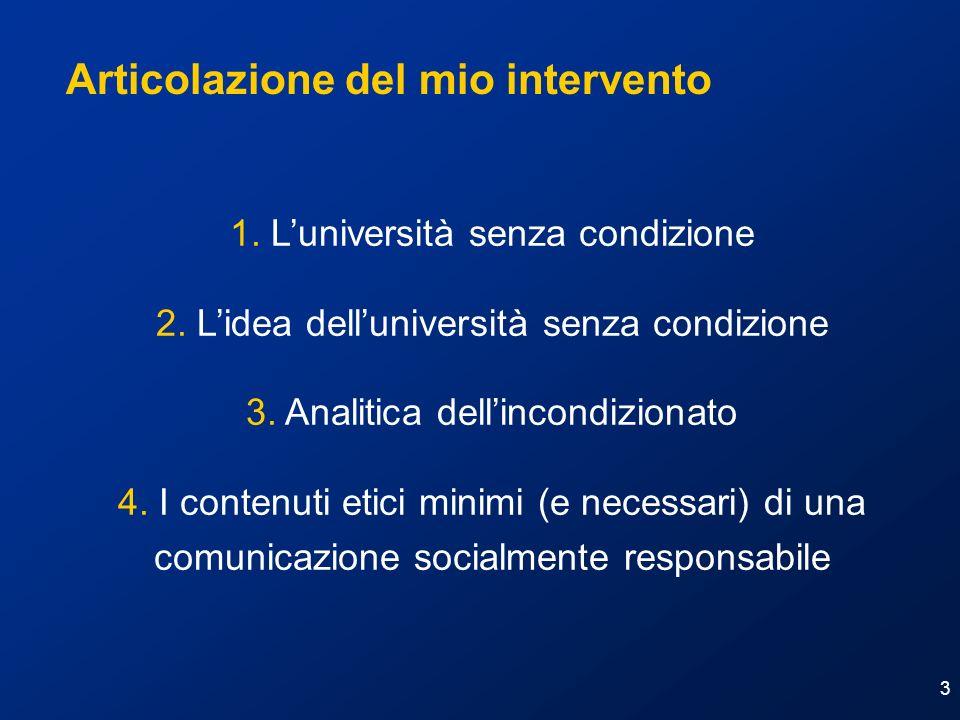 3 1. Luniversità senza condizione 2. Lidea delluniversità senza condizione 3. Analitica dellincondizionato 4. I contenuti etici minimi (e necessari) d