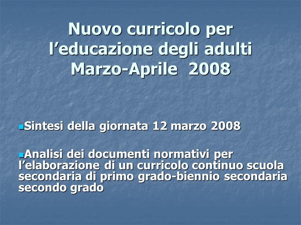 Nuovo curricolo per leducazione degli adulti Marzo-Aprile 2008 Sintesi della giornata 12 marzo 2008 Sintesi della giornata 12 marzo 2008 Analisi dei d