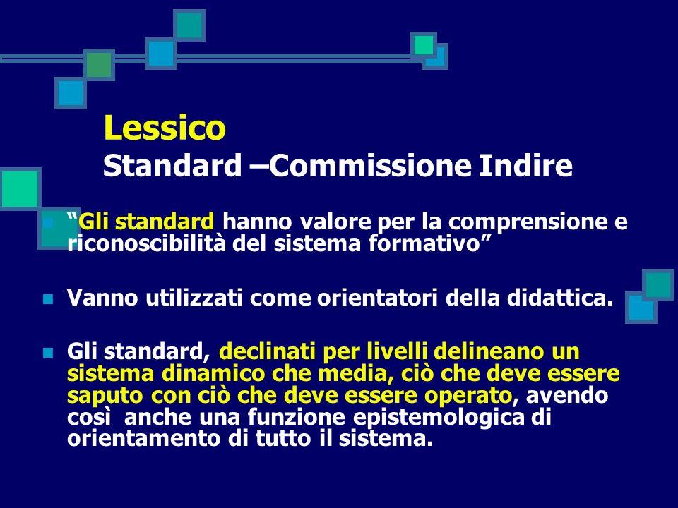 Gli standard hanno valore per la comprensione e riconoscibilità del sistema formativo Vanno utilizzati come orientatori della didattica. Gli standard,
