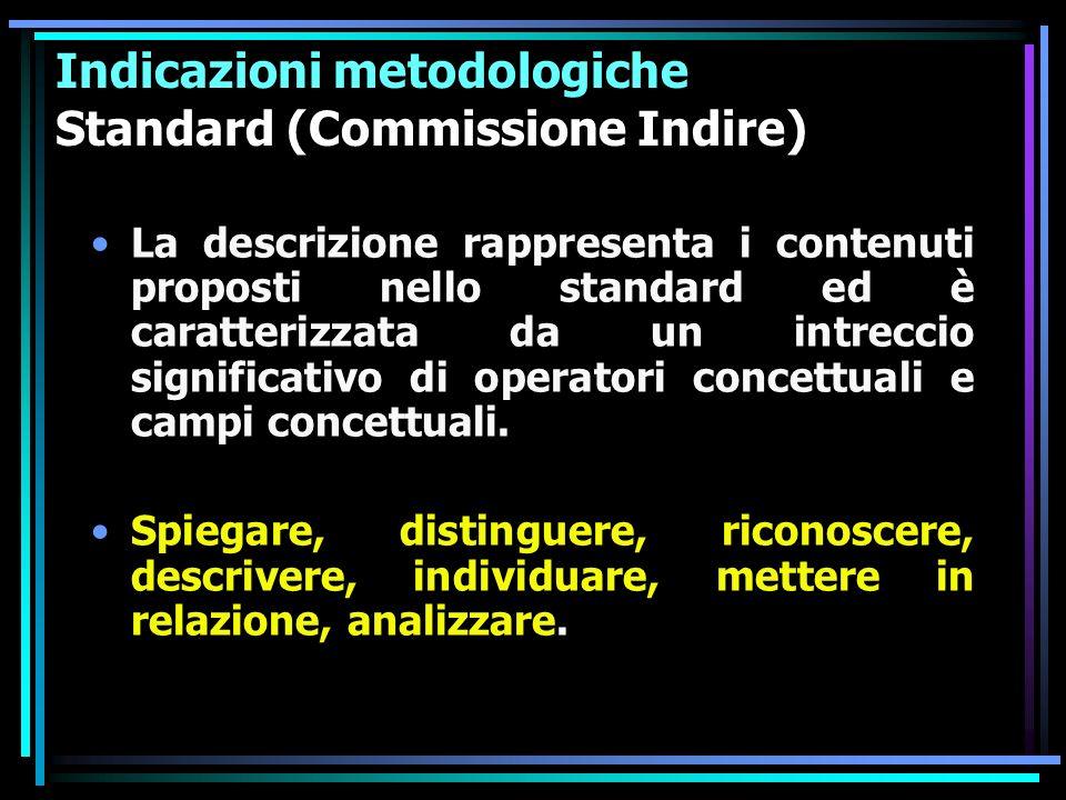 Indicazioni metodologiche Standard (Commissione Indire) La descrizione rappresenta i contenuti proposti nello standard ed è caratterizzata da un intre