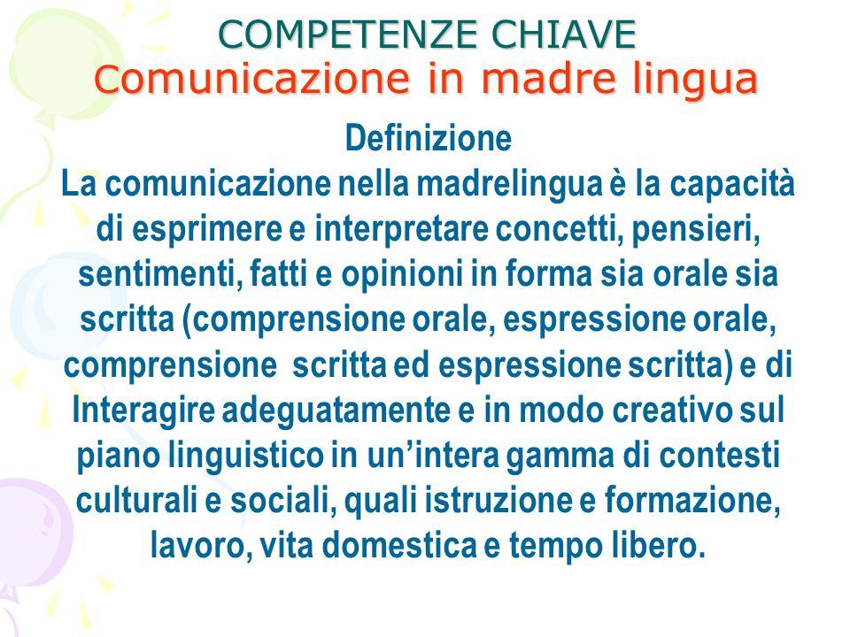 COMPETENZE CHIAVE C omunicazione in madre lingua Definizione La comunicazione nella madrelingua è la capacità di esprimere e interpretare concetti, pe