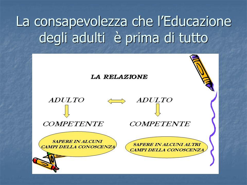La consapevolezza che lEducazione degli adulti è prima di tutto