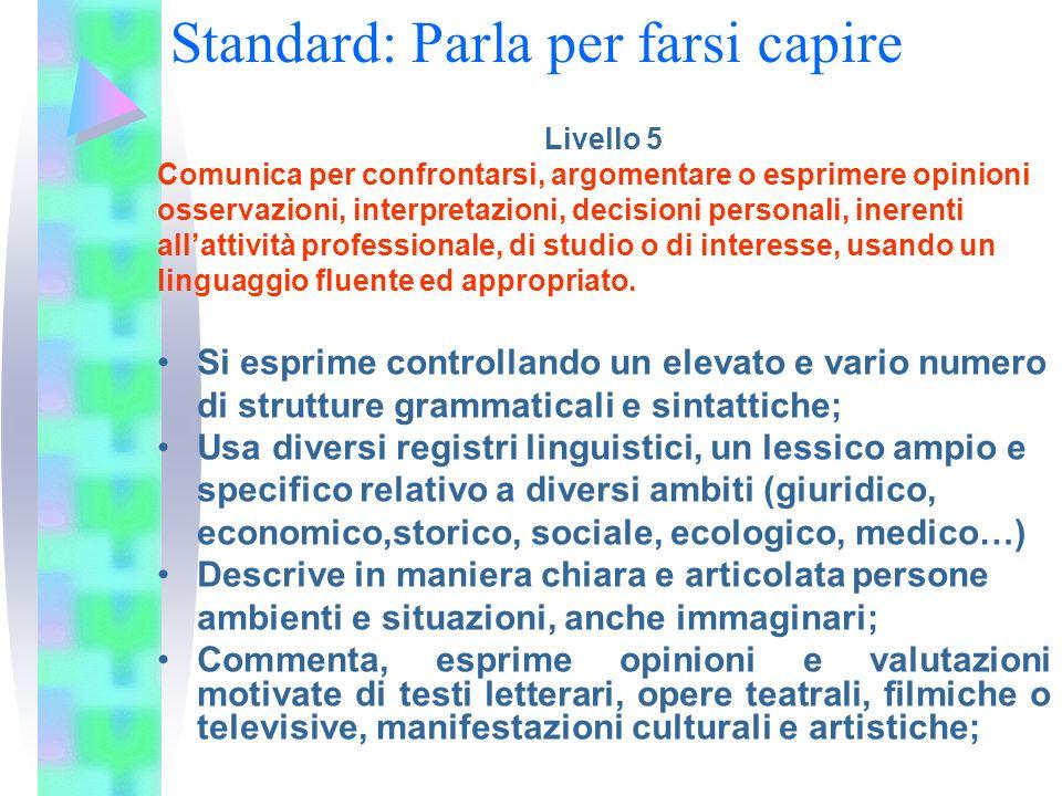 Livello 5 Comunica per confrontarsi, argomentare o esprimere opinioni osservazioni, interpretazioni, decisioni personali, inerenti allattività profess