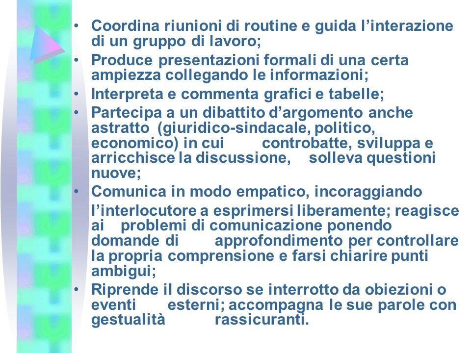Coordina riunioni di routine e guida linterazione di un gruppo di lavoro; Produce presentazioni formali di una certa ampiezza collegando le informazio