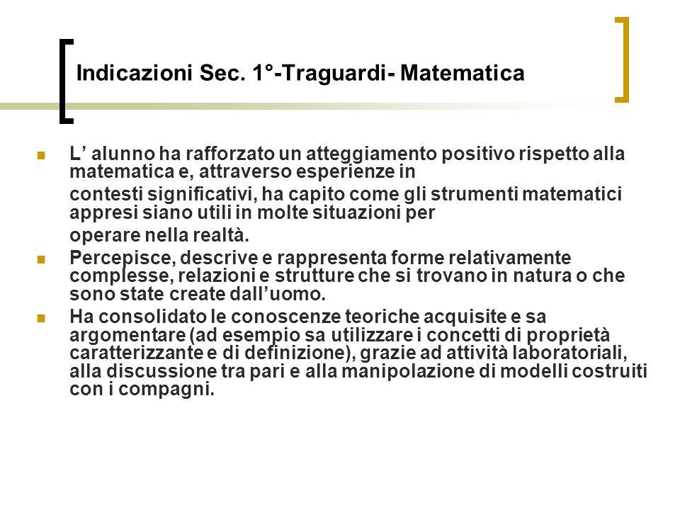 Indicazioni Sec. 1°-Traguardi- Matematica L alunno ha rafforzato un atteggiamento positivo rispetto alla matematica e, attraverso esperienze in contes