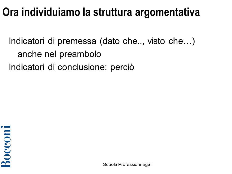 Scuola Professioni legali11 Ora individuiamo la struttura argomentativa Indicatori di premessa (dato che.., visto che…) anche nel preambolo Indicatori