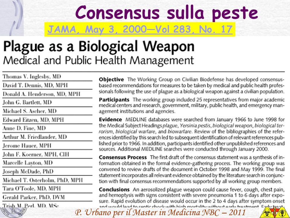 P. Urbano per il Master in Medicina NBC – 2011 Consensus sulla peste JAMA, May 3, 2000Vol 283, No. 17
