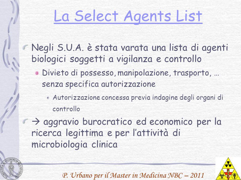 P. Urbano per il Master in Medicina NBC – 2011 La Select Agents List Negli S.U.A. è stata varata una lista di agenti biologici soggetti a vigilanza e
