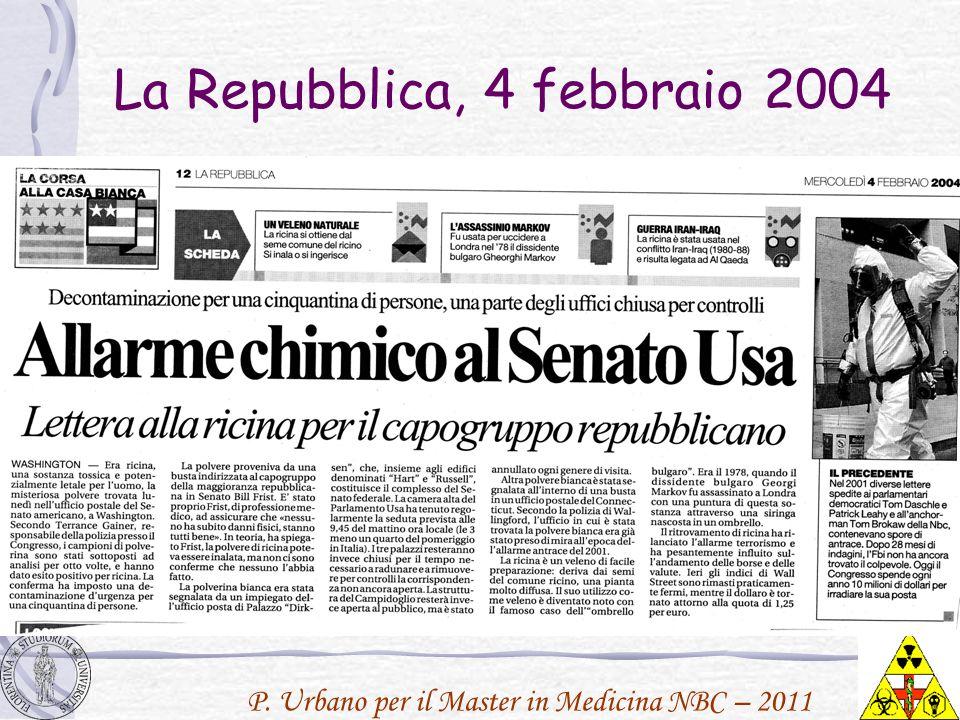 P. Urbano per il Master in Medicina NBC – 2011 La Repubblica, 4 febbraio 2004